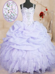 Sleeveless Beading and Ruffles and Pick Ups Zipper Quinceanera Gowns