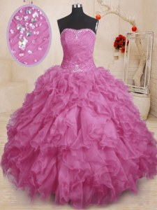 Strapless Sleeveless Quinceanera Gown Floor Length Beading and Ruffles and Ruching Fuchsia Organza