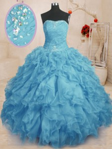 Floor Length Baby Blue Ball Gown Prom Dress Organza Sleeveless Beading and Ruffles and Ruching