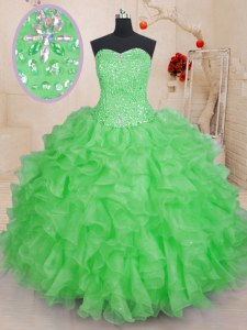 Sleeveless Organza Lace Up Sweet 16 Dresses for Military Ball and Sweet 16 and Quinceanera