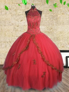 Halter Top Floor Length Lace Up Quince Ball Gowns Red for Military Ball and Sweet 16 and Quinceanera with Beading