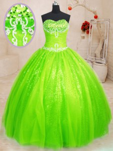 Sleeveless Floor Length Beading Lace Up Sweet 16 Quinceanera Dress