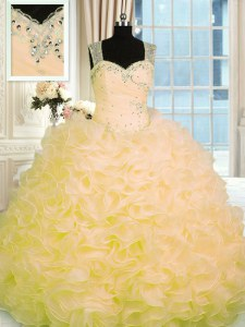 Ball Gowns Vestidos de Quinceanera Gold Sweetheart Organza Sleeveless Floor Length Zipper