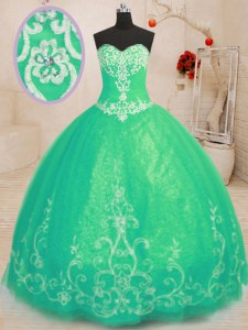 Fantastic Beading and Embroidery 15th Birthday Dress Turquoise Lace Up Sleeveless Floor Length