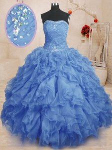Best Ball Gowns Quinceanera Gowns Blue Strapless Organza Sleeveless Floor Length Lace Up
