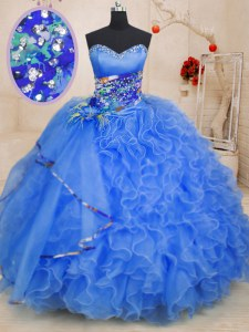 Best Selling Organza Sweetheart Sleeveless Lace Up Beading and Ruffles Sweet 16 Dresses in Blue