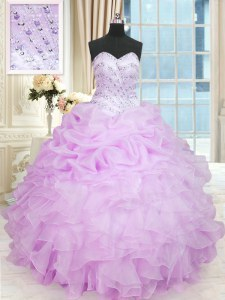 Sleeveless Floor Length Beading and Ruffles Lace Up Quinceanera Gowns with Lilac