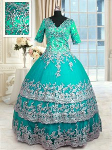 Ruffled V-neck Half Sleeves Zipper Sweet 16 Dresses Turquoise Satin