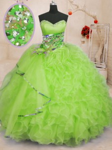 Low Price Yellow Green Ball Gowns Organza Sweetheart Sleeveless Beading and Ruffles Floor Length Lace Up Quinceanera Dresses
