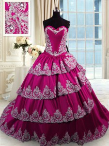 Graceful Sleeveless Court Train Beading and Appliques and Embroidery and Ruffled Layers Lace Up Sweet 16 Dresses