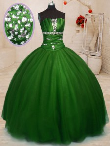 Elegant Tulle Strapless Sleeveless Lace Up Beading 15 Quinceanera Dress in Green