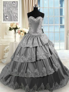 Extravagant With Train Lace Up Quince Ball Gowns Grey for Military Ball and Sweet 16 and Quinceanera with Beading and Appliques and Ruffled Layers Court Train