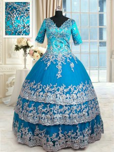 Attractive Floor Length Teal Quinceanera Gown Tulle Half Sleeves Beading and Lace and Appliques and Ruffled Layers