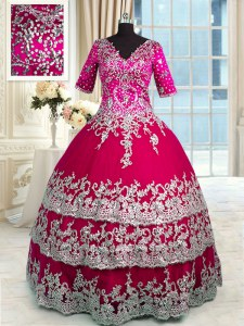 Ruffled Ball Gowns Vestidos de Quinceanera Red and Hot Pink V-neck Satin and Tulle Half Sleeves Floor Length Zipper