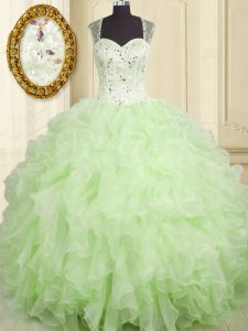 Yellow Green Ball Gowns Organza Straps Sleeveless Beading and Ruffles Floor Length Lace Up Quince Ball Gowns