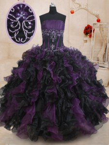 Chic Black And Purple Organza Lace Up Sweet 16 Dresses Sleeveless Floor Length Beading and Ruffles