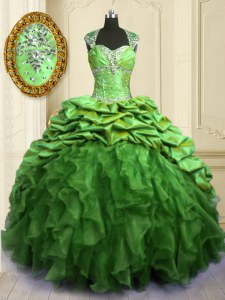 Perfect Ball Gowns Beading and Ruffles and Pick Ups Sweet 16 Quinceanera Dress Lace Up Organza and Taffeta Cap Sleeves Floor Length
