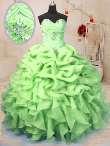 Yellow Green Sweetheart Neckline Beading and Ruffles and Pick Ups Sweet 16 Dresses Sleeveless Lace Up