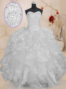 White Sleeveless Beading and Ruffles Floor Length Sweet 16 Quinceanera Dress