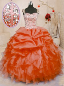 Designer Orange Red Sleeveless Floor Length Beading and Ruffles and Pick Ups Lace Up Vestidos de Quinceanera