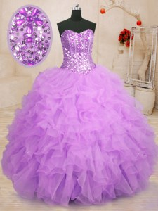 Fabulous Lilac Ball Gowns Organza Sweetheart Sleeveless Beading and Ruffles Floor Length Lace Up Sweet 16 Dress