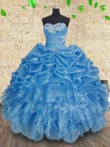 Classical Sleeveless Floor Length Beading and Appliques and Ruffles and Ruching Lace Up 15 Quinceanera Dress with Baby Blue