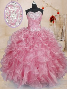 Delicate Pink Organza Lace Up Ball Gown Prom Dress Sleeveless Floor Length Beading and Ruffles