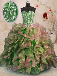Extravagant Multi-color Ball Gowns Beading and Ruffles Quinceanera Dresses Lace Up Organza Sleeveless Floor Length