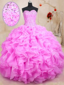 Colorful Sleeveless Lace Up Floor Length Beading and Ruffles 15 Quinceanera Dress