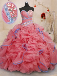 Coral Red Sleeveless Organza Brush Train Lace Up Sweet 16 Dresses for Military Ball and Sweet 16 and Quinceanera