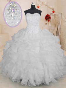 Amazing White Quince Ball Gowns Military Ball and Sweet 16 and Quinceanera and For with Beading and Ruffles Sweetheart Sleeveless Lace Up