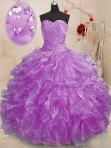 Pretty Purple Sleeveless Floor Length Beading and Ruffles Lace Up Quinceanera Dresses