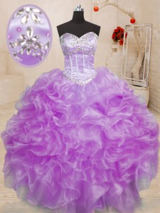 Best Floor Length Lace Up Quinceanera Dresses Lilac for Military Ball and Sweet 16 and Quinceanera with Beading and Ruffles
