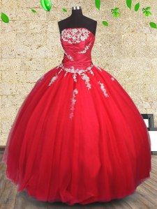 Romantic Red Ball Gowns Strapless Sleeveless Tulle Floor Length Lace Up Appliques and Ruching Quinceanera Gown