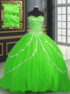 With Train Ball Gowns Sleeveless Sweet 16 Quinceanera Dress Brush Train Lace Up