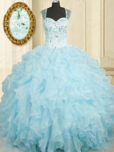 Straps Sleeveless Lace Up Quinceanera Dress Baby Blue Organza