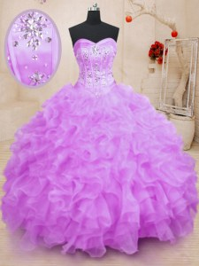 Edgy Sleeveless Floor Length Beading and Ruffles Lace Up Quinceanera Gown with Lilac