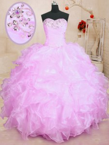 Lilac 15th Birthday Dress Military Ball and Sweet 16 and Quinceanera and For with Beading and Ruffles Sweetheart Sleeveless Lace Up