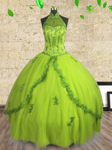 Fashionable Floor Length Yellow Green Quinceanera Gowns Halter Top Sleeveless Lace Up