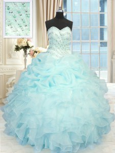 Pick Ups Aqua Blue Sleeveless Organza Lace Up Sweet 16 Dress for Military Ball and Sweet 16 and Quinceanera