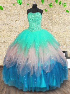 Tulle Sleeveless Floor Length 15 Quinceanera Dress and Beading and Sequins