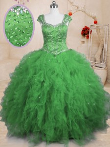 Attractive Tulle Lace Up Square Cap Sleeves Floor Length Quince Ball Gowns Beading and Ruffles
