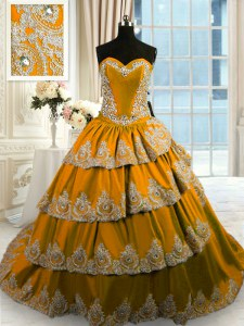 Cute Brown Taffeta Lace Up Quince Ball Gowns Sleeveless With Train Court Train Beading and Appliques and Ruffled Layers