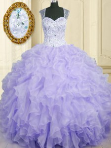 Extravagant Sleeveless Floor Length Beading and Ruffles Lace Up Quinceanera Dresses with Lavender