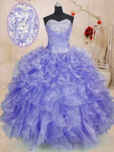 Fabulous Floor Length Lavender Quinceanera Gowns Organza Long Sleeves Beading and Ruffles