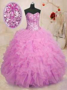 High Quality Lilac Lace Up Sweetheart Beading and Ruffles Quinceanera Dresses Organza Sleeveless