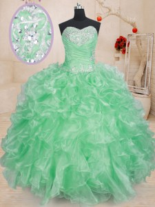 Fantastic Apple Green Sleeveless Beading and Ruffles and Pick Ups Floor Length Sweet 16 Dresses