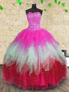 Fashion Multi-color Ball Gowns Tulle Sweetheart Sleeveless Beading and Ruffles and Ruffled Layers Floor Length Lace Up Vestidos de Quinceanera