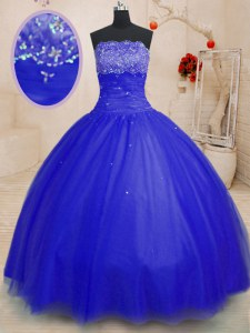 Royal Blue Quinceanera Gown Military Ball and Sweet 16 and Quinceanera and For with Beading Strapless Sleeveless Lace Up