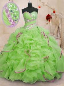 Beautiful Organza Lace Up Quinceanera Dresses Sleeveless With Brush Train Beading and Ruffles